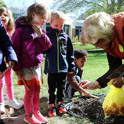 Kindergarteners Study Plants in the Peace Garden