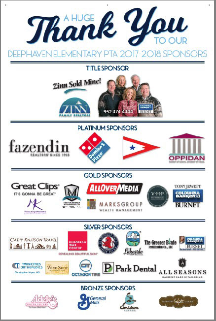 Thank you to our 2017 Deephaven PTA Sponsors - collage of logos.