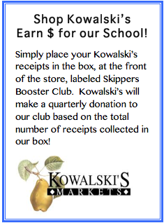 Shop Kowalski's Earn $ for our school! Simply place your Kowlaski's receipts in the box at the front of the store labeled Skippers Booster Club. Kowalski's will make a quarterly donation to our club based on the total number of receipts collected in our box!