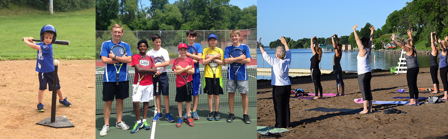 three pictures of classes at Wayzata parks: t-ball, tennis and beach yoga